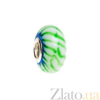 Серебряная бусина с зеленым муранским стеклом AQA--002510045
