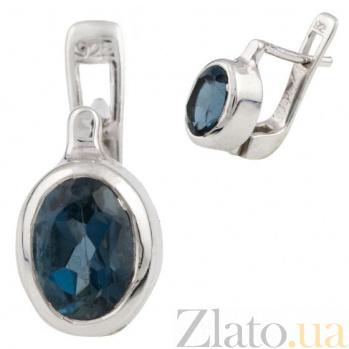Серебряные серьги Элиза с лондон топазом 000074955