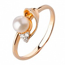 Кольцо из красного золота Малика с жемчугом и бриллиантами