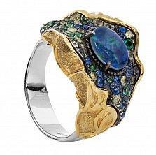 Серебряное кольцо Барокко с опалом, хризолитом и позолотой