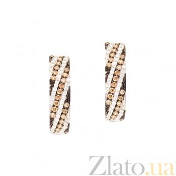 Золотые серьги с бриллиантами Мойра 1С759-0036