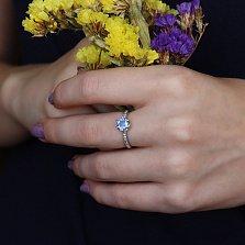 Серебряное кольцо Лола с кварцем цвета танзанит и цирконием