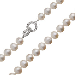 Бусы из жемчуга Русалочка с серебряной застежкой с кристаллами 000017367