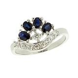 Серебряное кольцо с цирконием и сапфирами Гармония