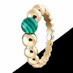 Кольцо из желтого золота с малахитом 000012097