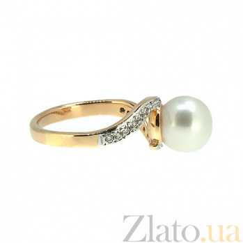 Золотое кольцо в красном цвете с жемчугом и бриллиантами Войс ZMX--RP-6267_K