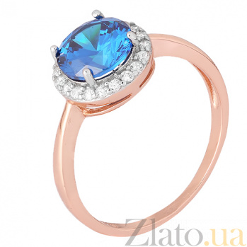 Позолоченное серебряное кольцо Рашель с фианитом цвета лондон топаза 000028442