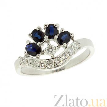 Серебряное кольцо с цирконием и сапфирами Гармония ZMX--RCzS-6403-Ag_K