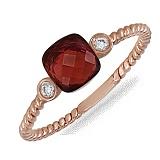 Кольцо Алла из красного золота с бриллиантами и гранатом