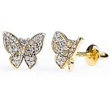 Серьги-пуссеты из желтого золота с бриллиантами Бабочка