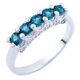 Серебряное кольцо Тришна с синтезированным топазом лондон и фианитами
