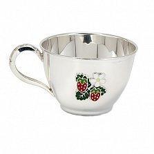 Серебряная чашка Земляника с эмалью