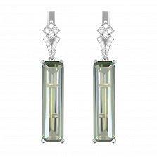 Серебряные серьги-подвески Лаваль с зеленым аметистом и цирконием