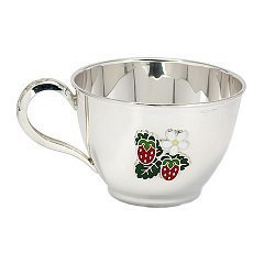 Серебряная чашка Земляника с разноцветной эмалью, 210мл