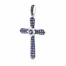 Крестик в белом золоте Фрида с сапфирами и бриллиантами