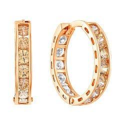 Золотые серьги с шампаневым и белым цирконием Swarovski, d 15мм 000050222