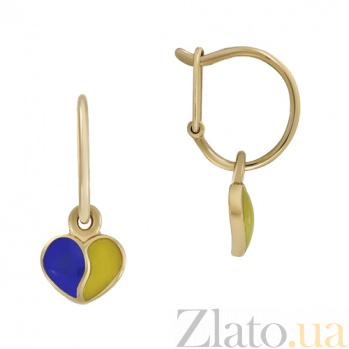 Золотые серьги с эмалью Люблю Украину 000022809