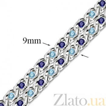 Серебряный браслет Мирена с голубым и синим цирконием 000044856