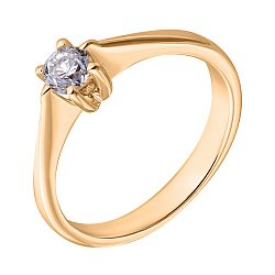Кольцо в желтом золоте Nefertiti с бриллиантом