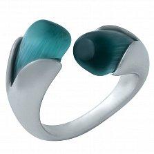 Серебряное кольцо Лаура с голубым кошачьим глазом