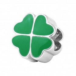 Серебряный шарм с зеленой эмалью 000116422