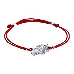 Шелковый браслет Молния McQueen с серебряной вставкой 000061826