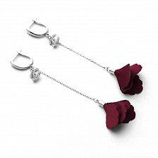 Серебряные серьги-подвески Маки с красным текстилем и фианитами в стиле Шанель