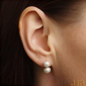 Серебряные пуссеты с белым жемчугом Гамма BGS--404с/б