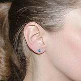 Серебряные серьги-пуссеты Анжелина с голубыми фианитами