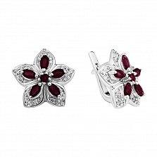 Серебряные серьги с бриллиантами и рубинами Прага