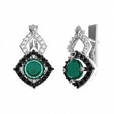 Серебряные серьги Агнесса с зеленым кварцем и фианитами