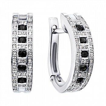 Серьги из белого золота с черными и белыми бриллиантами с родированием 000131464