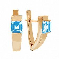 Золотые серьги с голубым топазом Аделина
