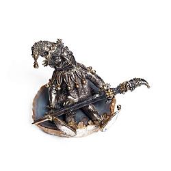 Серебряная подставка под ручку с агатом и позолотой 000004757