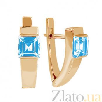 Золотые серьги с голубым топазом Аделина 000024387