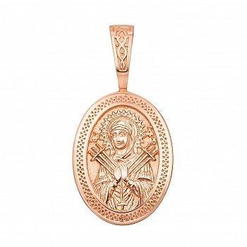 Ладанка из красного золота Божья Матерь Семистрельная 000133324