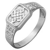 Серебряное кольцо с фианитами Орнамент