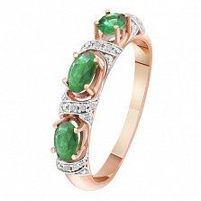 Золотое кольцо с изумрудами и бриллиантами Лесная фея