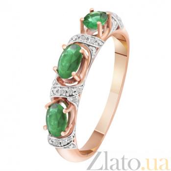Золотое кольцо с изумрудами и бриллиантами Лесная фея KBL--К1869/крас/изум