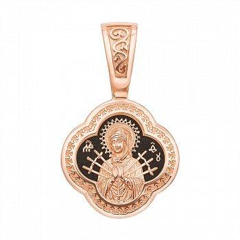 Ладанка из красного золота Божия Матерь Семистрельная с чернением 000137531