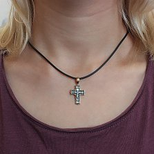 Серебряный крестик строгой формы Милосердие с чернением и позолотой