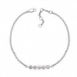 Золотой браслет в белом цвете с бриллиантами 000126888