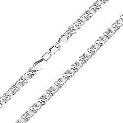 Серебряный браслет в плетении бисмарк с фианитами, 4,5мм 000118141