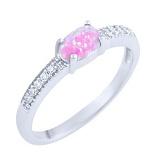 Кольцо из серебра Фаиза с розовым опалом и фианитами