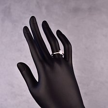 Серебряное кольцо Карусо с белым фианитом в четырех крапанах