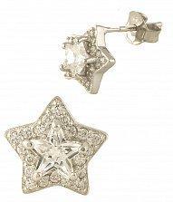 Серебряные серьги-пуссеты Звездочки с фианитами
