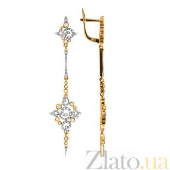 Золотые серьги-подвески с фианитами Кассиопея VLT--ТТТ2280
