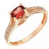 Золотое кольцо Хармони с гранатом и фианитами