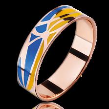 Кольцо из красного золота Молись за Украину мужское