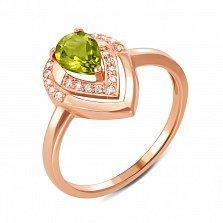 Кольцо из красного золота с хризолитом и фианитами 000134270